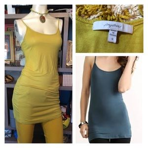 Anthropologie Mystree Chartreuse Long Cami Tank To